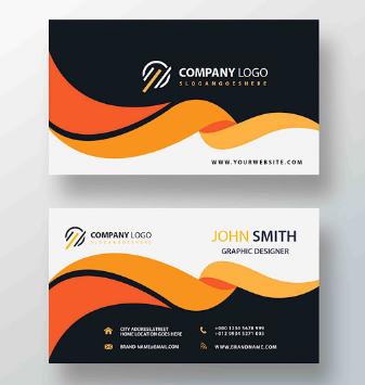 Membuat Kartu Nama dengan Perpaduan Gelombang Orange | Templates Design Gratis