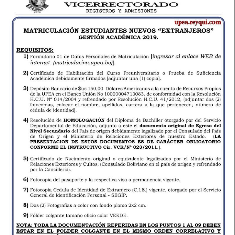 """Matriculación UPEA 2019: Requisitos Para Estudiantes Nuevos """"Extranjeros"""""""