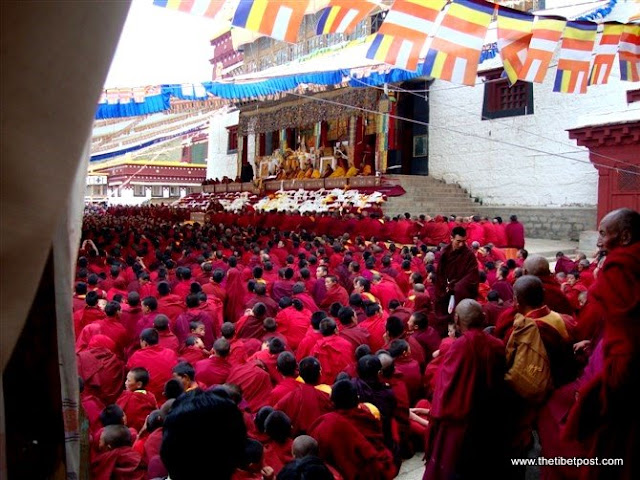 Massive religious gathering and enthronement of Dalai Lama's portrait in Lithang, Tibet. - l74.JPG