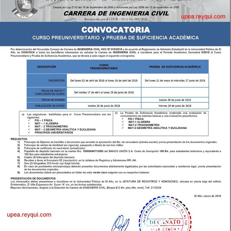 Ingeniería Civil UPEA II/2018: Convocatoria para el Curso Preuniversitario y Prueba de Suficiencia Académica