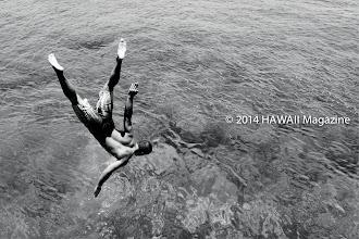 Photo: PEOPLE CATEGORY, SECOND PLACE. Hercules' backflip, Lahaina, Maui. Photo by Leone Papalii, Honolulu, Oahu, Hawaii.