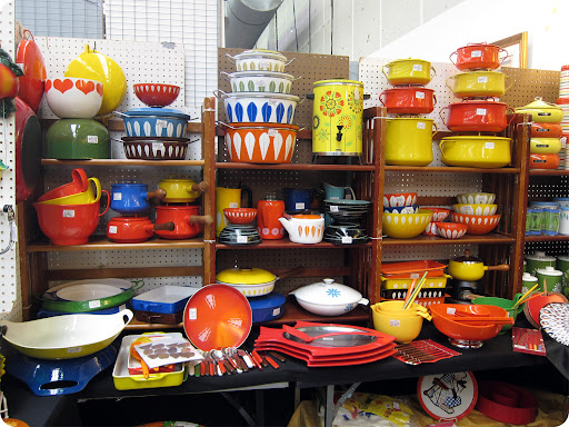 Colorful mid-century Dansk enamel kitchen/ovenware.