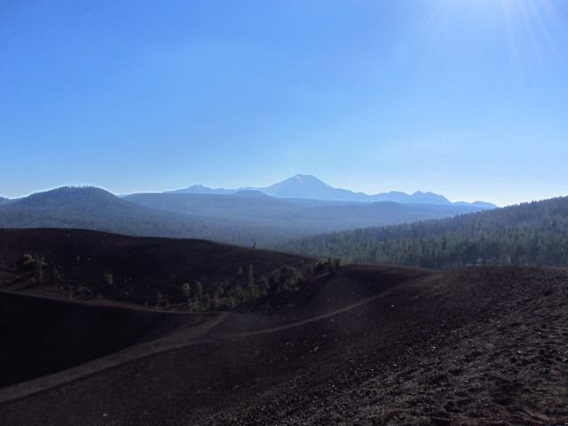 Lassen in the distance from the high point of Cinder Cone