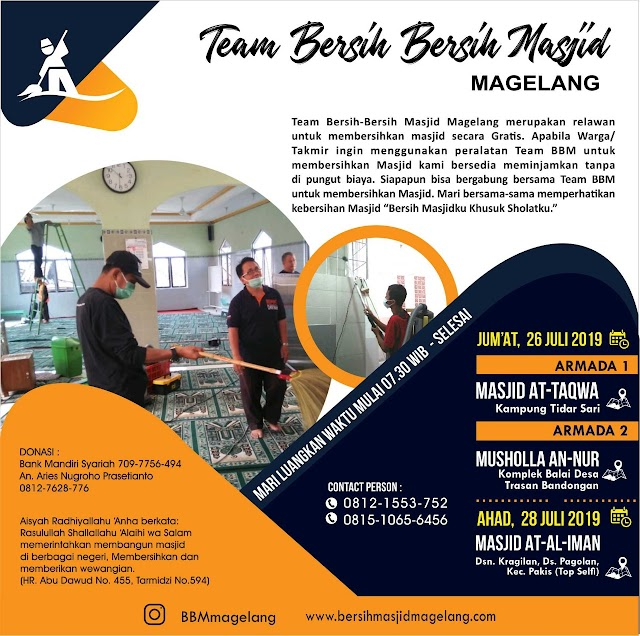 Bergabunglah dalam BBM gathering dan Kegiatan Bersih-Bersih Masjid Al-Iman Kragilan Pogalan Kecamatan Pakis Kabupaten Magelang