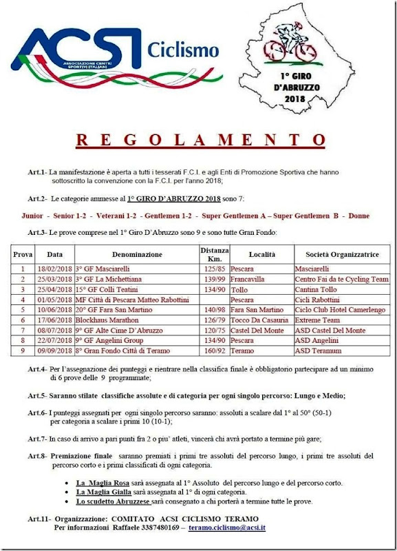 Calendario Promozione Abruzzo.Ciclocolor