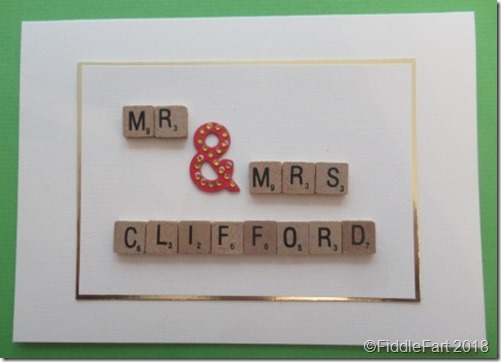 Mr and Mrs Scrabble wedding card