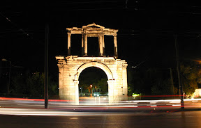 Hadrian's Arch at night