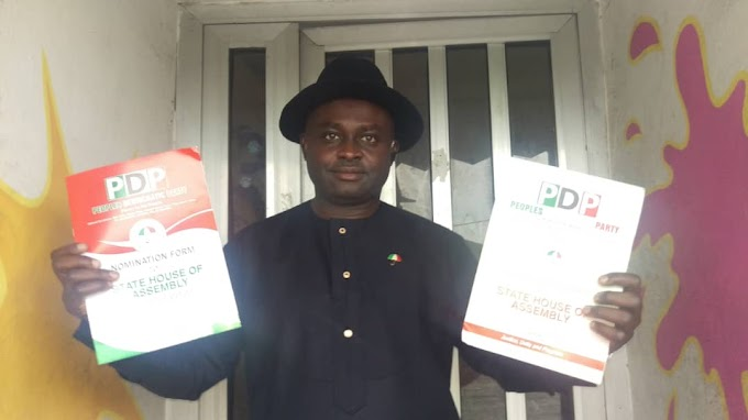 JUST IN: Prince George Ogonyi picks PDP House Of Assembly nomination form