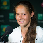 INDIAN WELLS, UNITED STATES - MARCH 17 : Daria Kasatkina talks to the media at the 2016 BNP Paribas Open
