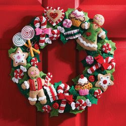 Bucilla 86264 Cookies and Candy Wreath Felt Applique Home Accent Kit, 15-Inch by 15-Inch