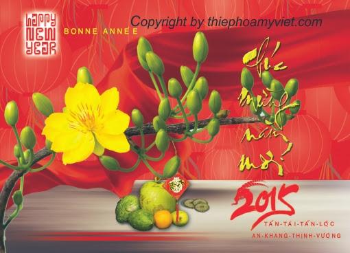 Thiệp tết Hoa mai cho năm Ất Mùi 2015 - Thiệp Hoa Mỹ Việt