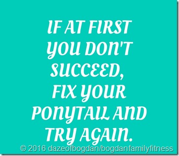 if at first you don't succeed, fix your ponytail and try again.