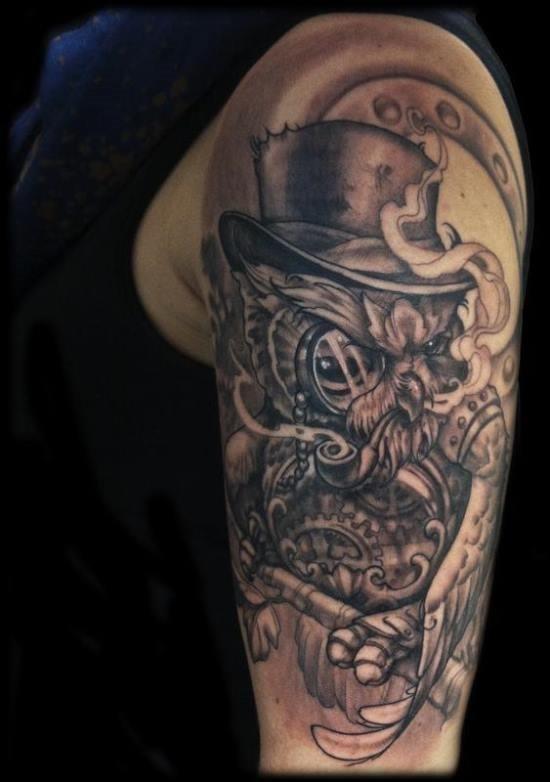 steampunk_coruja_braço_de_tatuagem_para_homens
