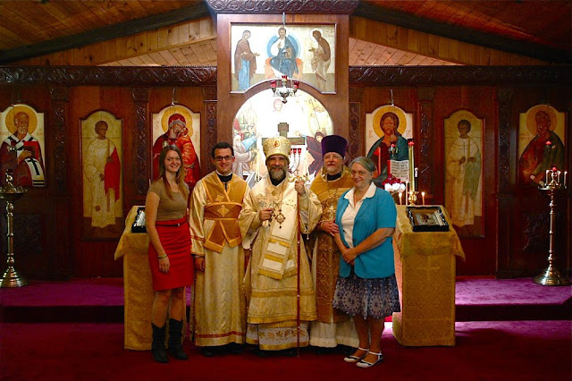 Vladyka, Fr. John with his wife Peggy, and children Subdeacon Nilus, and Juliana.