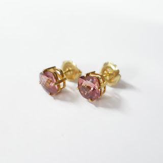 18K Gold and Tourmaline Stone Earrings