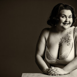 Lingerie lady by Simo Järvinen - Black & White Portraits & People ( studio, lingerie, woman, tattoos, monochrome, portrait, female, people )