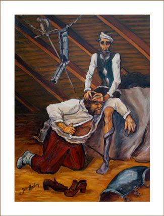 Sancho bebe el bálsamo de Fierabrás