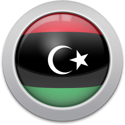 Libyan flag icon with a silver frame