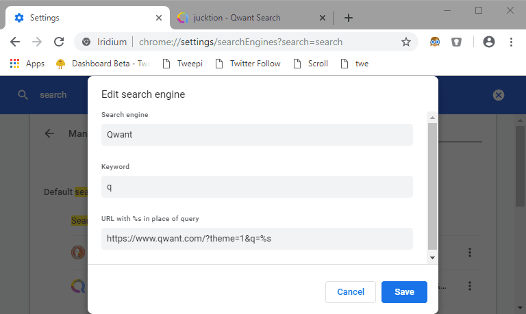 Search engines with dark mode & invoking them with URL parameters
