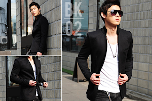 seven domu bk02+blazer+korean+black+style