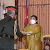 Awarding the honorary title of Maharathi of the Nepal Army to Narwane
