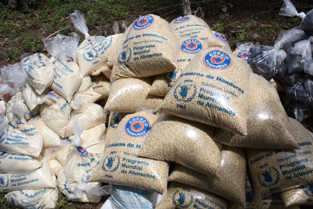 Some of the food distributed to the drought-affected communities of Las Hastas and Los Achiotes in the town of Orocuina, Choluteca, Honduras. Photo: Hetze Tosta / WFP