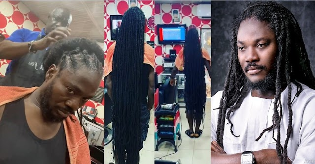 """""""Guinness book of record worthy"""" – Reactions as Daddy Showkey flaunts his floor-length dreads (video)"""