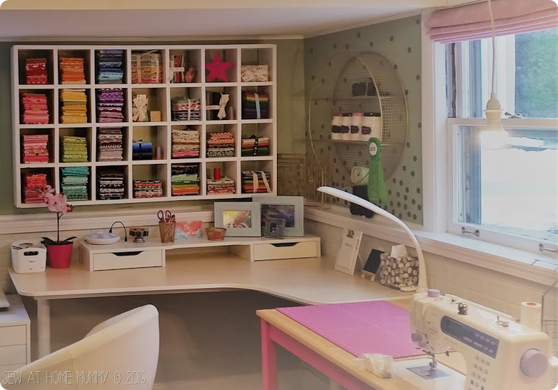 gorgeous sewing room and fabric storage ideas - diy sewing machine table and how to build your own fabric shelf