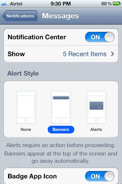 Notification option available under iPhone