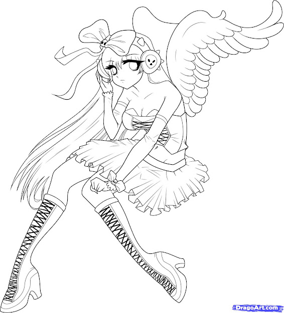 Anime Wings Colouring Pages