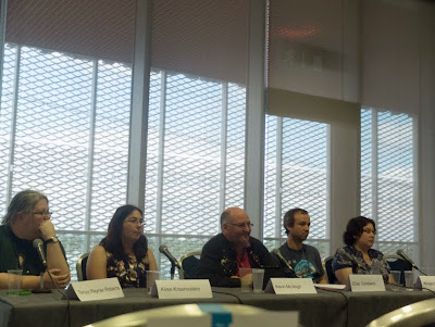 The Review is Political with Kevin McVeigh, Abigail Nussbaum, Tansy Rayner Roberts, Elías Combarro and Alisa Krasnostein at LonCon