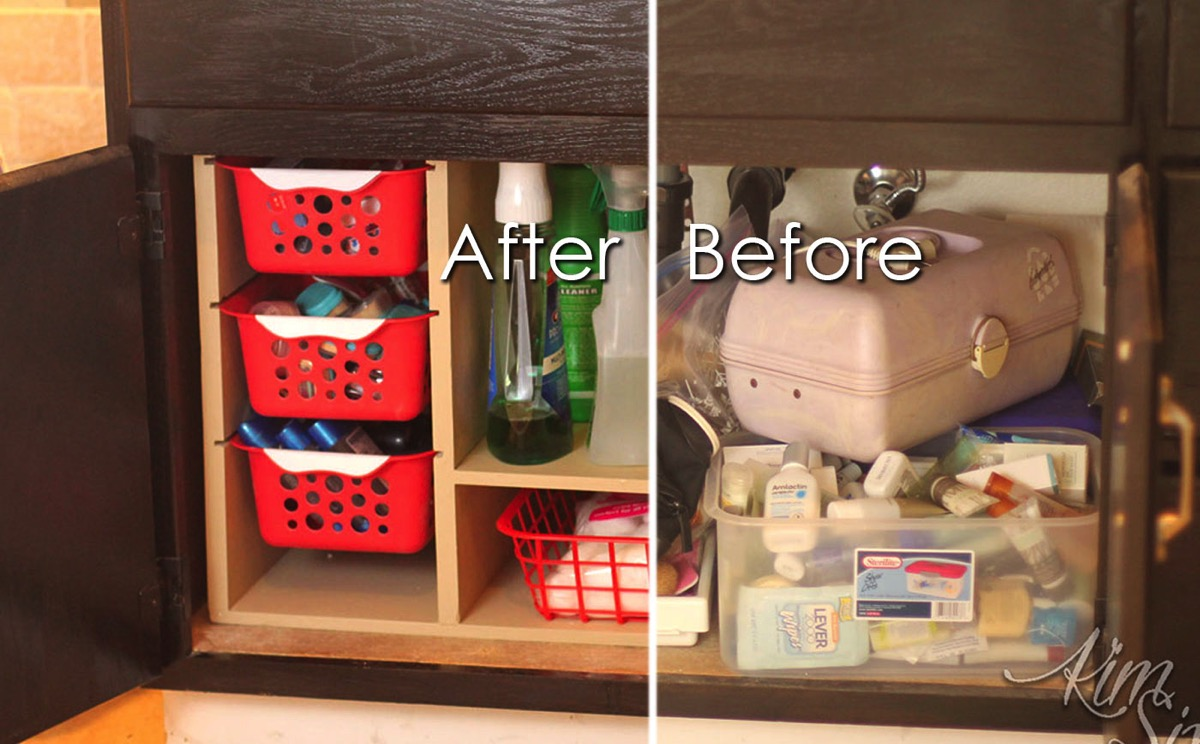 Undersink Cabinet Organized With Dollar Baskets