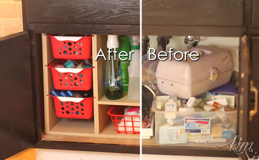Undersink Cabinet Organized With Dollar Store Baskets