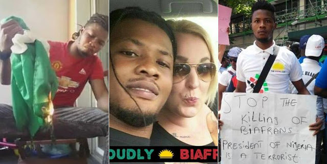 IPOB Member Burns The Nigerian Flag, Calls President Buhari a Terrorist (Photos)