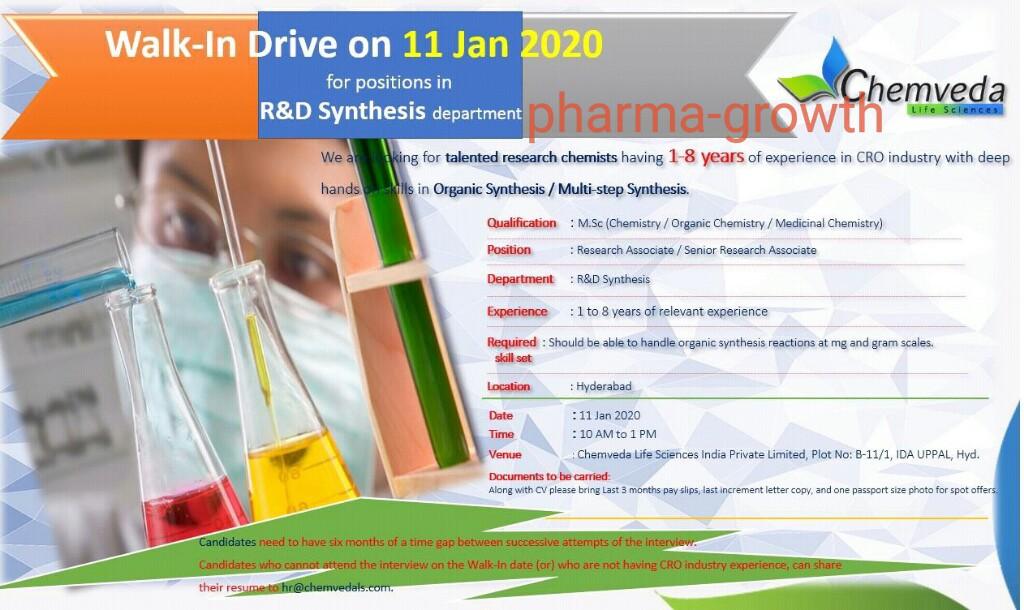 Chemveda Life Sciences – Walk-In Drive for Multiple Positions in R&D Synthesis Department on 11th Jan' 2020