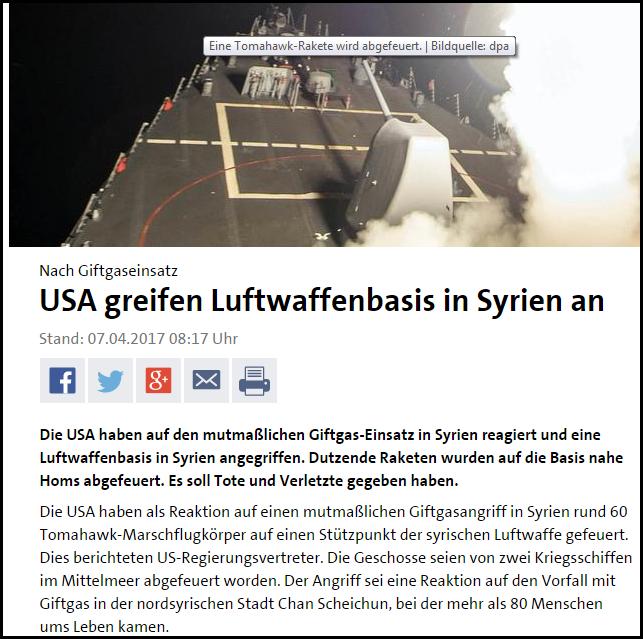 USA greifen Syrien an