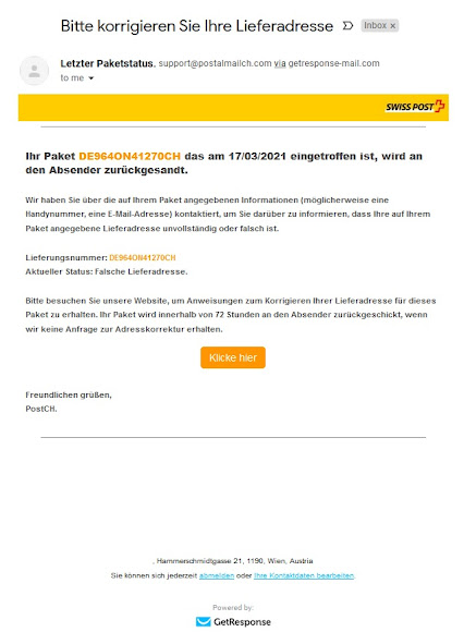 PC Doc Swiss Post Bern Fake Mail