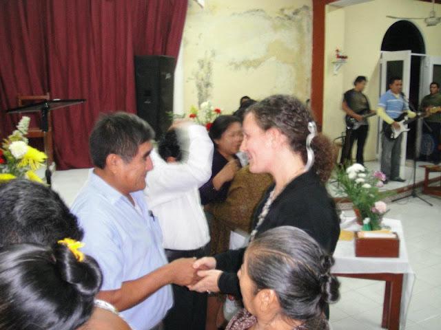 Kelly greets Angelino Ek, one of the members of the Jesus Film Team.