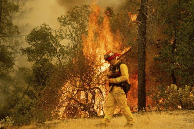 A firefighter walks near flames from the Carr Fire in Redding, Calif., on Saturday, 28 July 2018. Photo: Noah Berger / AP Photo