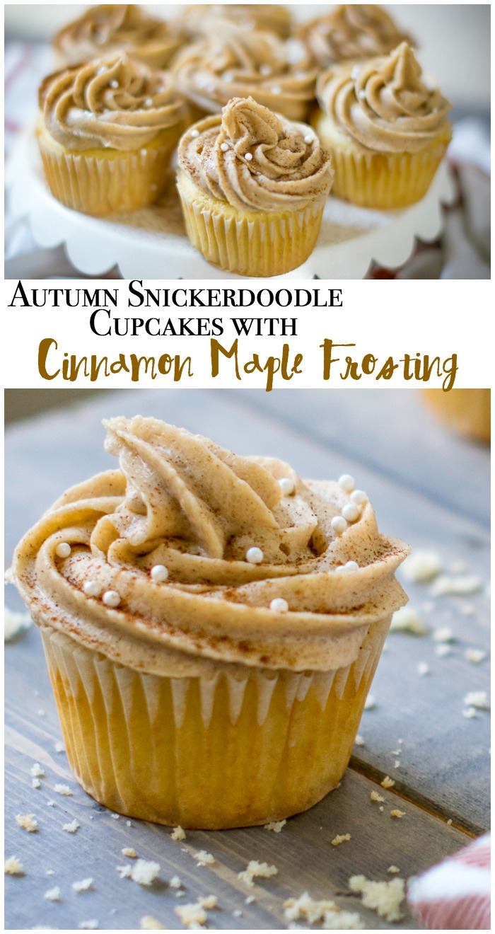 Autumn snickerdoodle cupcakes with cinnamon maple frosting