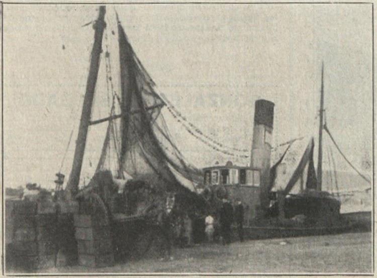 Descargando pescado. Foto de El Financiero. Edicion de 31 de diciembre de 1920.tif