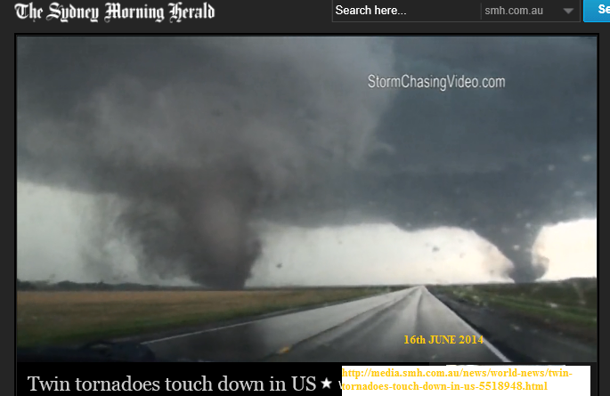 twin tornadoes 16th june 2014 USA