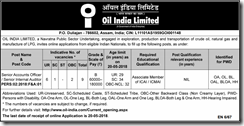 Oil India Limited advetisement 2018 indgovtjobs