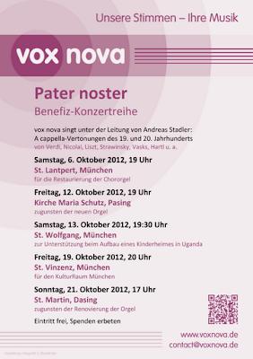 Pater noster Benefiz-Konzertreihe der vox nova