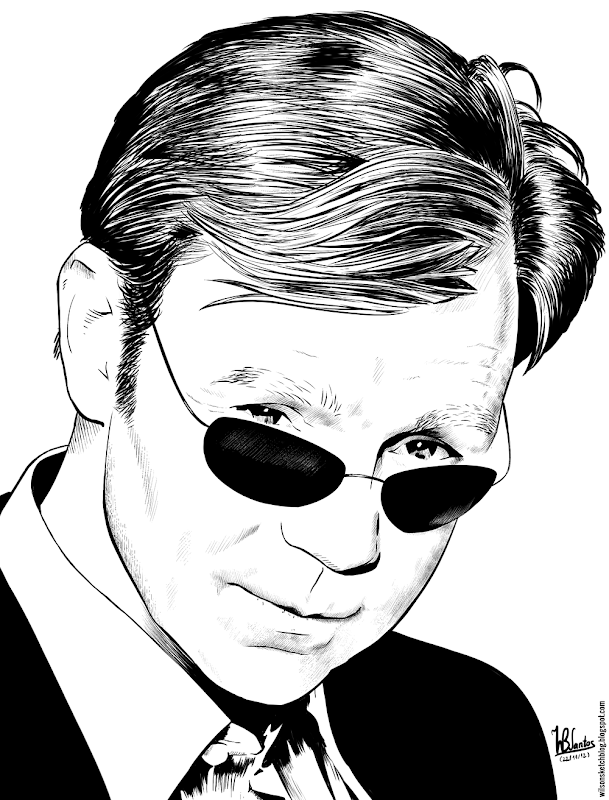 Ink drawing of David Caruso, using Krita 2.4.