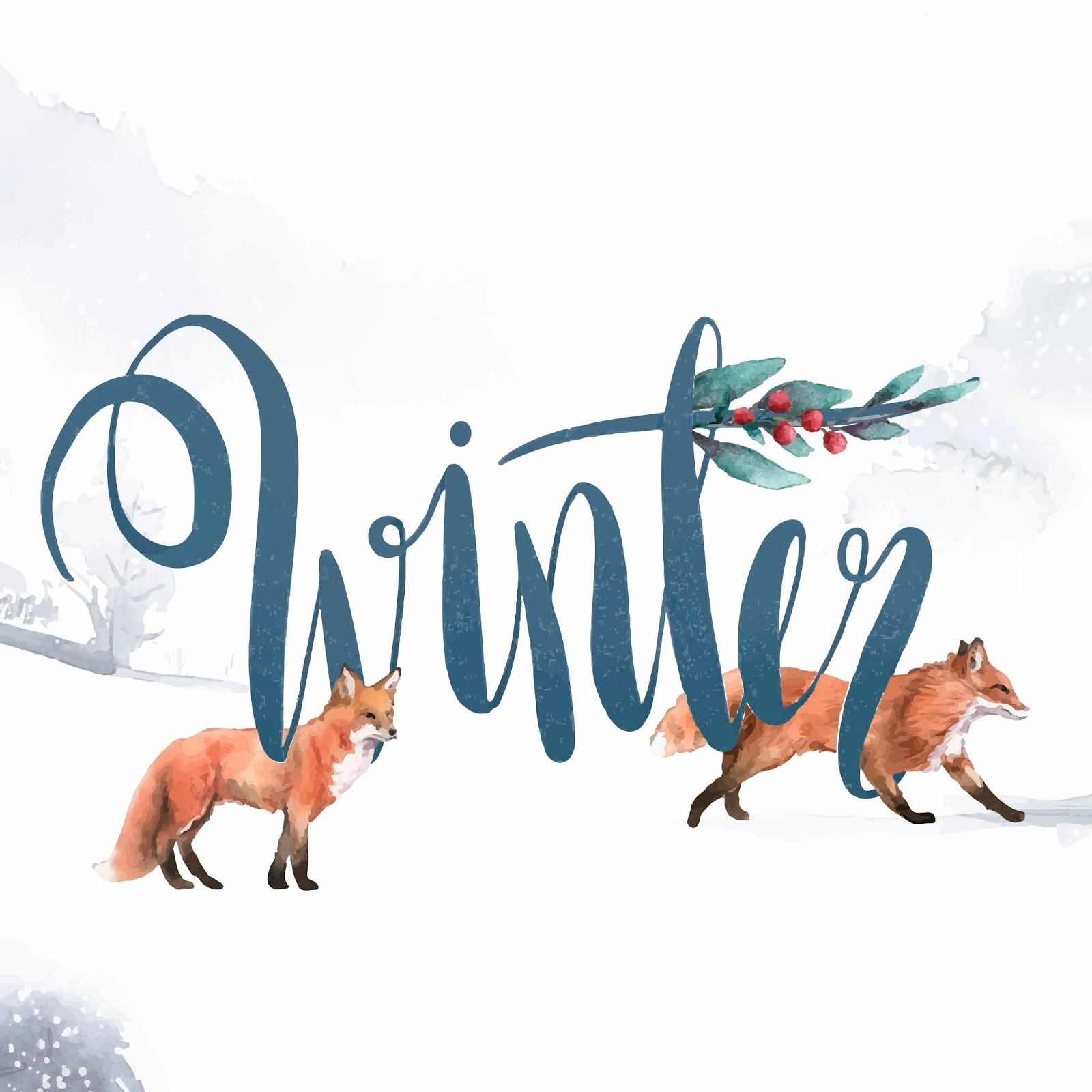 Winter Watercolor Style Typography Vector Free Download Vector CDR, AI, EPS and PNG Formats