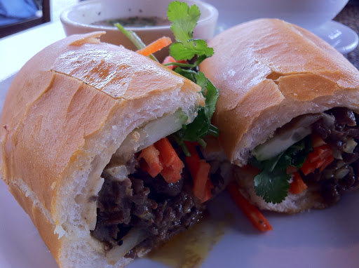Beef banh mi with soup (congee) at The Monkey Bridge [NL]