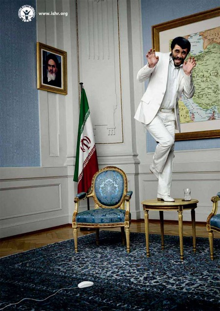 evil ahmadinejad afraid white mouse
