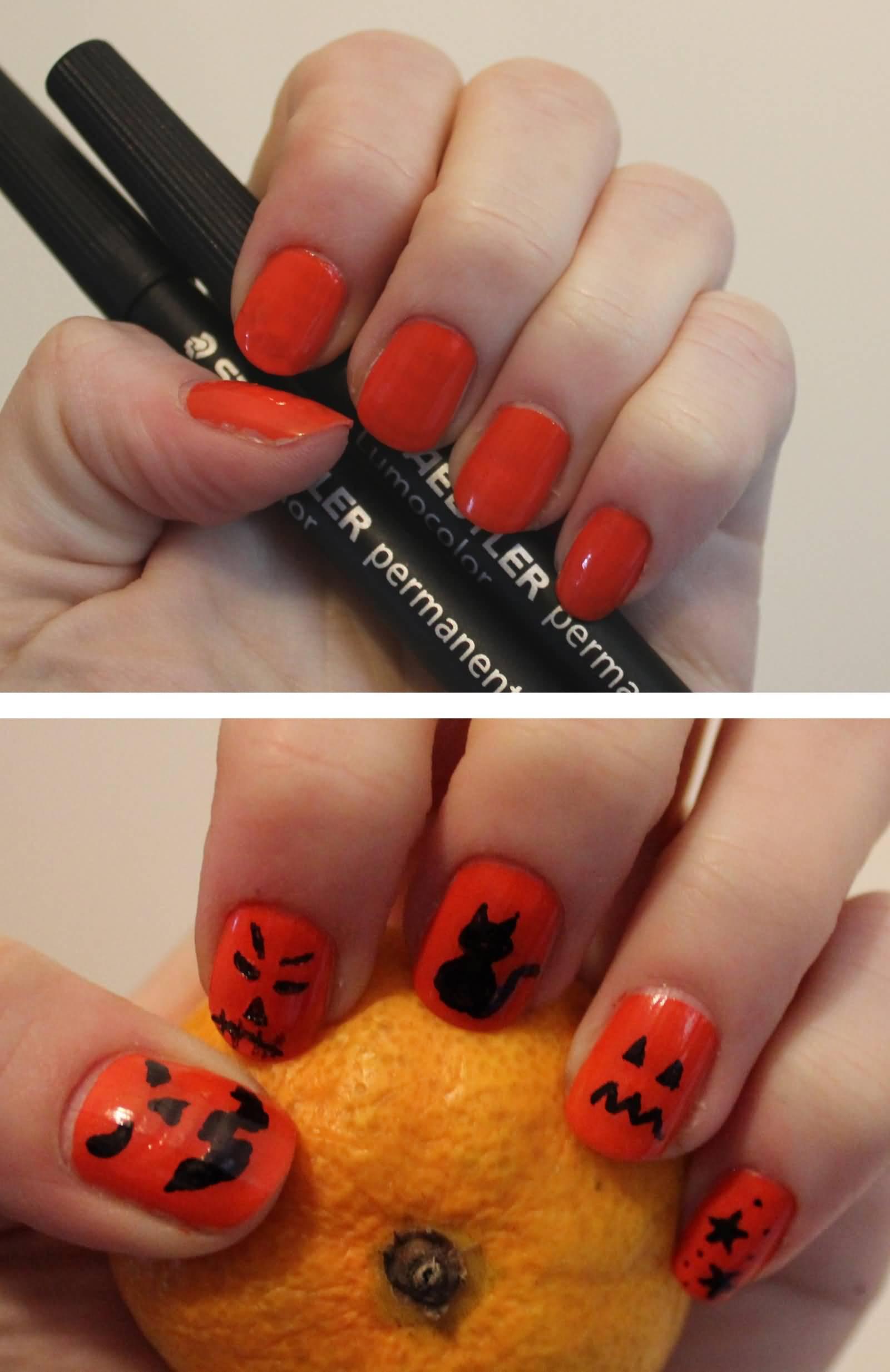 Images of Orange Nail Art Designs, Ideas | Fashion Qe