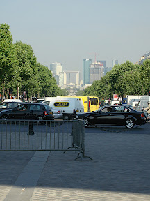 Looking down the Champs-Élysées in the opposite direction toward La Defense